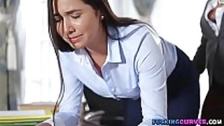 Sexy secretary fucked by boss with strap-on sex tool