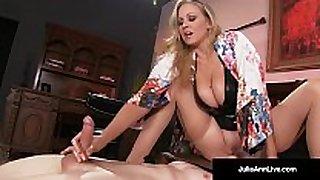 Mega sexy milf julia ann abuses her slave fellow!