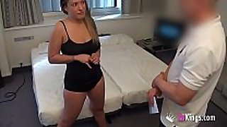 Girl with great bumpers fucks a lustful room service...