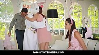 Familystrokes - cute legal age teenager drilled by easter bunn...