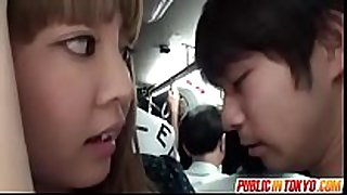 Horny playgirl gives cook jerking in a crowded bus