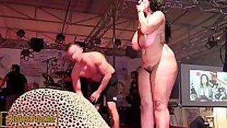 Bbw black brown fucking big knob on stage
