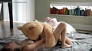 Petite young golden-haired riding a teddy - evilcams.net