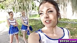 Hot cheerleaders group fuck with their sexually excited coach