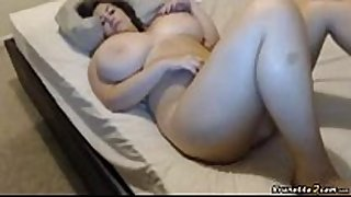 Busty bbw masturbates while bounces her love scoops