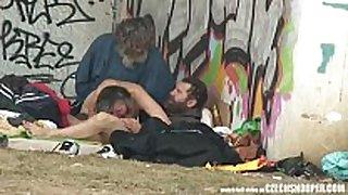 Pure street life homeless three-some having sex ...