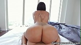 Bigass ebon pov drilled on the bed