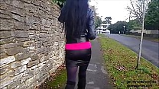 Spying on sexy black brown angie in miniskirt, long...