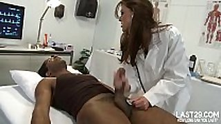 Sexy brunette hair hair doctor sucks black rod on examin...