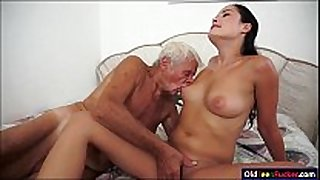 Dolly diore sucks off a grandpas rod and sits...