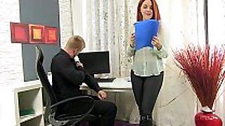 Secretary sucks the boss ramrod for some cum