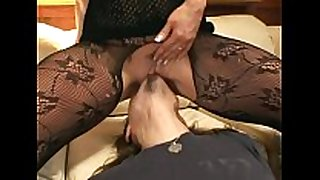 Pantyhose face sitting and oral-job sex on a couch