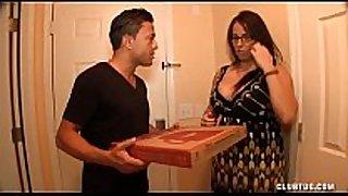 Busty milf jerking off the pizza stud