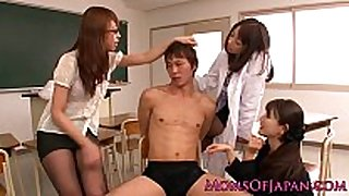 Asian milf teacher trio dominate legal age teenager student