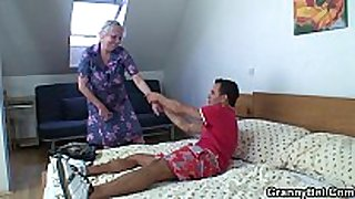 Blonde old granny is doggy style drilled