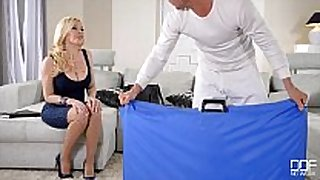 Big titty blonde gets drilled in all holes
