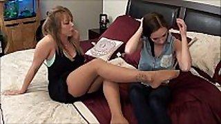 Mother teaches daughter feet worship