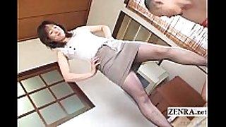 Japanese milf in pantyhose feet teasing with su...
