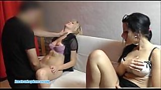 Two teens sharing one pecker for bj and sex