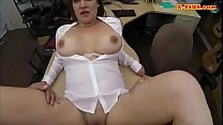 Sexy business woman team-fucked by pawnkeeper to ear...
