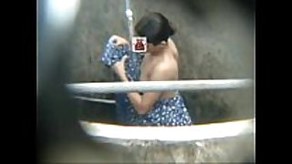 Hott wife bathing outdoor captured from moblile