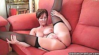 British milf fun exposing her large scones and sexy ...