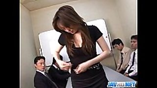 Office honey in stocking finger group sex