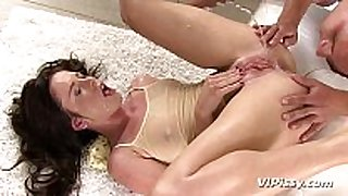 Horny playgirl showers in her mans recent urine