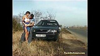 Crazy dilettante white women receives cum next to car