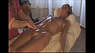Woman gives massage to hot amateur wife