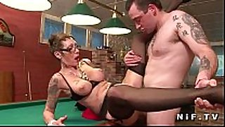 Big boobed french older with tattoo's acquires group-fucked