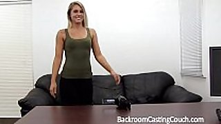 Fit hottie fucked right into an asshole n creampie on casting bed