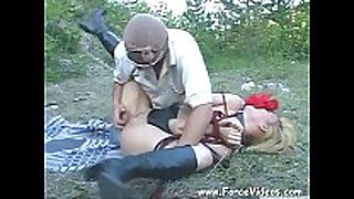 Masked fellow rapes a sweethearts hard in garden, extrem...