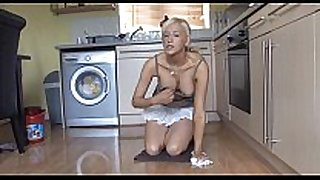 Cleaning in the kitchen - boobs-out - spy movie scene