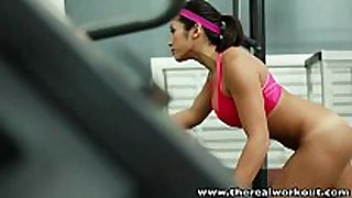 Therealworkout breasty oriental gym chick constricted slit...