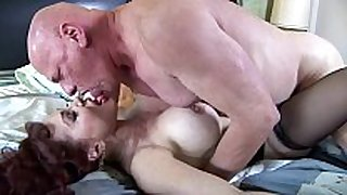 Big boobed redhead fucking in haunch high stockings