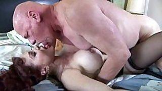 Big boobed redhead fucking in haunch high stockings