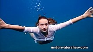 Julia swimming exposed in the sea