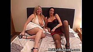 Massive boobed woman and aged take facual cumshots
