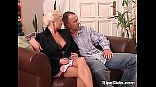 Mature woman and golden-haired sex bomb getting