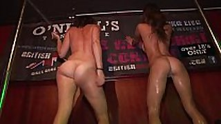 Drunken hot college cuties disrobe undressed on stage...