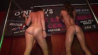 Drunken hot college cuties disrobe undressed on stage...