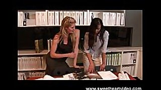 Doggystyle lesbo fingering in the office