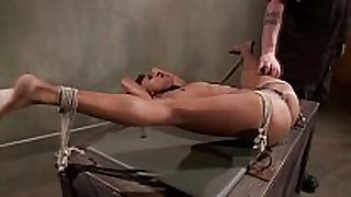 Tied up ebon sub obeys her slaver during their...
