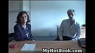 French older married pair try-out on camera