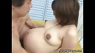 Big stomach oriental preggy working her cum-hole