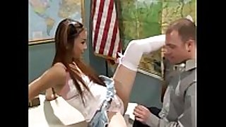 Teen cutie in white nylons screwed on a desk