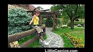 Little caprice learns roller skating exposed outd...