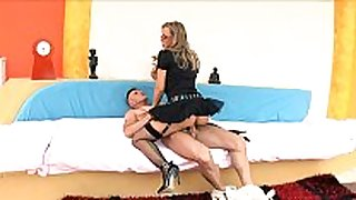Uniformed honey sex in fishnet nylons and heels