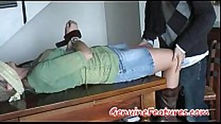 Horny milf in hose fastened blindfolded and te...